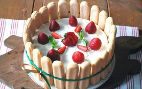 Picture food, strawberry, pie, cream, cakes