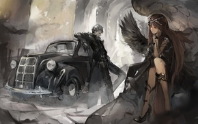 Picture girl, decoration, wings, guy, car, red eyes, art, Nikogori Mattyaduke