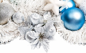 Picture flowers, tinsel, Christmas decorations