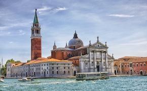 Picture the sky, boat, Italy, Church, Venice, channel, the bell tower, San Giorgio Maggiore