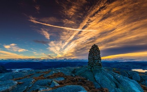 Picture the sky, stones, Norway, Mountain Sunrice