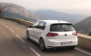 Picture Auto, Road, Mountains, White, Volkswagen, Machine, Day, Golf, GTI, Rear view, In Motion