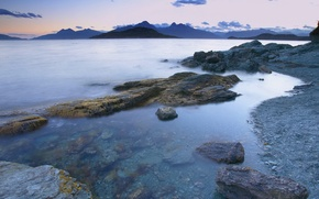 Wallpaper clouds, water, shore, mountains, stones