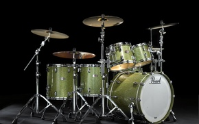 Picture drum, Pearl Reference. drum set, metallic green