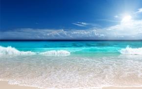 Picture sand, sea, beach, the sun, sunshine, beach, sea, ocean, blue, emerald