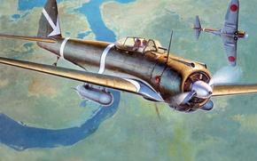Picture the sky, figure, art, aircraft, Japanese, WW2, army, Nakajima Ki-43 Hayabusa, single-seat fighter, Nakajima Ki-43 ...