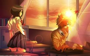 Wallpaper anime, school, Bleach, Ichigo Kurosaki, Kuchiki Rukia