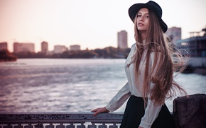 Picture summer, girl, bridge, city, sweetheart, model, skirt, hat, blouse, brown hair, beautiful, the beauty, fashion, …