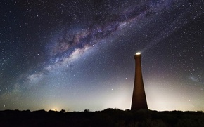 Picture space, stars, tower, ray, the milky way