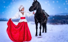 Picture winter, girl, hat, horse, outfit, fur