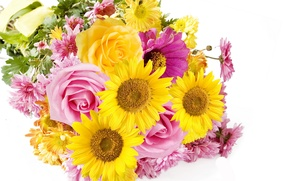 Picture photo, Flowers, Bouquet, Sunflowers, Roses, Asters