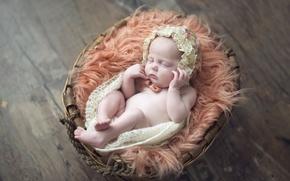 Picture basket, child, sleep, girl, cap, baby, baby