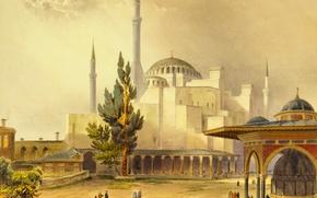 Picture the city, picture, mosque, Istanbul, Turkey, the minaret, Hagia Sophia, , While Agia Sophia