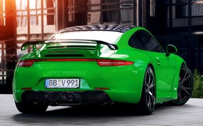 Wallpaper 911, Porsche, green, Porsche, rear view, Carrera, Carerra, TechArt