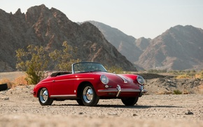Picture car, red, desert, red, convertible, classic, classic, german, PORSCHE, 356B, ROADSTER
