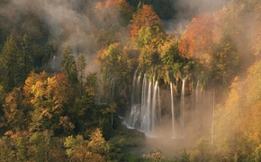 Picture forest, Croatia, morning mist, autumn colors, the light of dawn, 5 Oct 2008, The waterfall …