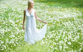 Picture field, girl, smile, dress, blonde, dandelions
