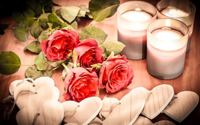 Picture flowers, roses, candles, hearts, figures