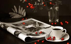 Picture berries, tea, journal