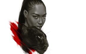 Picture model, Panther, art, Naomi Campbell, Naomi Campbell