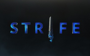 Picture the game, logo, logo, game, black background, Strife, MOBA