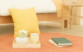Picture flowers, photo, mood, Wallpaper, Breakfast, morning, Cup, pillow, book, bedroom