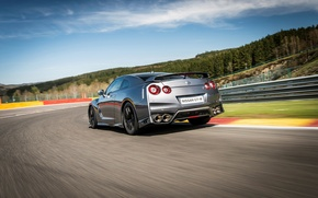 Picture car, auto, speed, Nissan, GT-R, speed, back, track, exhausts
