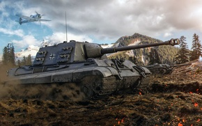 Picture World of Tanks, Hunting tiger, Jagdtiger, Tank Hunter Tiger, client massively multiplayer online game