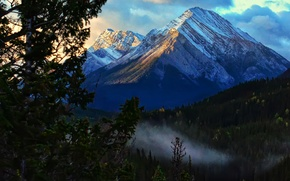 Picture clouds, tree, mountain, Jeff R. Clow