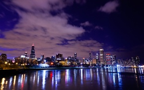 Picture night, lights, Chicago, USA, promenade, skyscrapers, lake Michigan, Illinois