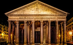 Picture night, lights, Rome, Italy, Pantheon