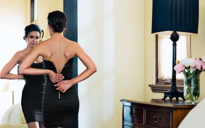 Picture look, girl, back, actress, beauty, Emmanuelle Chriqui, Emmanuelle Chriqui