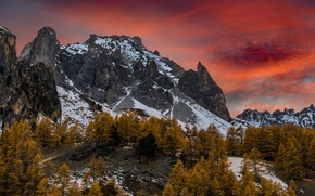 Picture autumn, the sky, mountains, nature