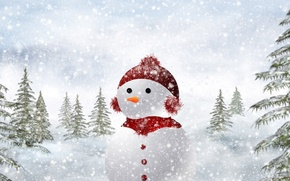 Picture winter, snow, nature, tree, Snowman