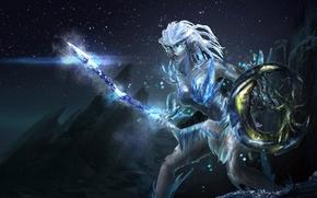 Picture stars, night, rocks, fantasy, art, spear, shield