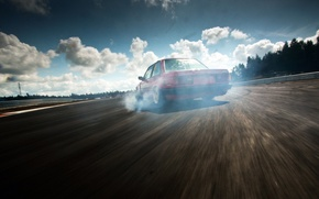 Picture the sky, tree, highway, drift, Bmw, E30