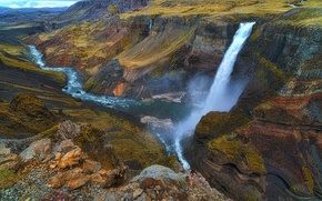 Wallpaper river, waterfall, stream, canyon, Iceland