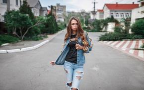 Picture look, girl, city, street, model, clothing, portrait, home, jeans, jacket, fashion, beauty, Ukrainian, torn, Love …