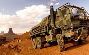 Picture desert, truck, Oshkosh, Family of Medium Tactical Vehicles, FMTV