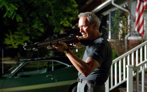 Wallpaper gran torino, the gun, clint eastwood, man