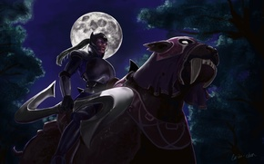 Picture cat, girl, the moon, art, Dota 2, Luna, Moon Rider, Carina-chan