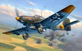 Picture the sky, War, battle, air, bomber, aircraft, Junkers, war., world, the plan, and attack, S-87, ...