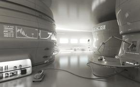 Picture girl, future, mechanism, robot, art, the study, laboratory, equipment