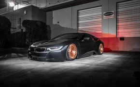 Picture bmw, wheels, black, tuning, night, face, germany, low, stance, electro car
