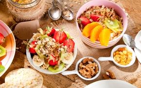 Picture Fruit, Food, Still life, Nuts, Breakfast, Muesli