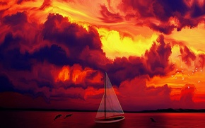 Wallpaper Sunset, dolphins, birds, sailing boat