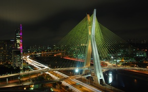 Picture road, the city, lights, river, bridges, Brazil, Sao Paulo