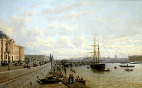 Picture water, people, shore, ship, building, Marina, picture, boats, Saint Petersburg, painting, canvas, Vereshchagin Peter, Neva …