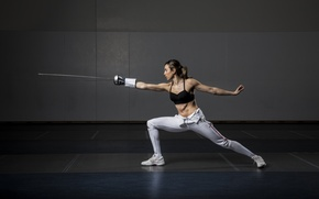 Wallpaper woman, training, fencing