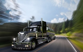 Picture road, pipe, grille, truck, cabin